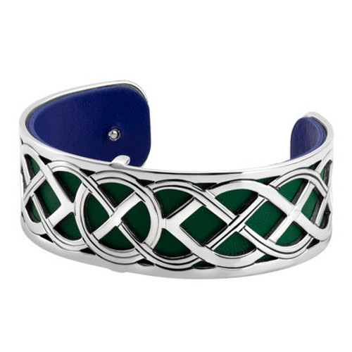 Rhodium Plated Round Knotwork Bangle with Leather Insert