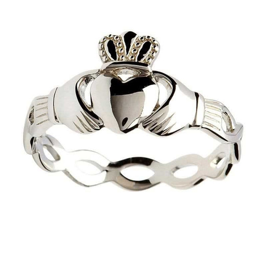Women's Sterling Silver Claddagh Ring with Woven Band