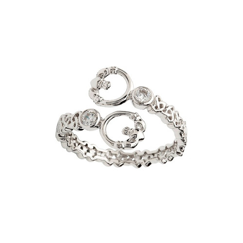 Women's Sterling Silver Double Claddagh Crisscross Ring