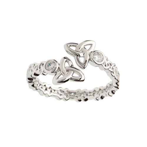 Women's Sterling Silver Double Trinity Knot Crisscross Ring