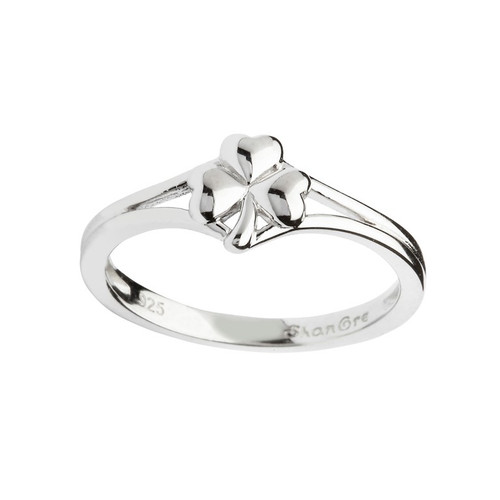 Women's Sterling Silver Dainty Shamrock Ring