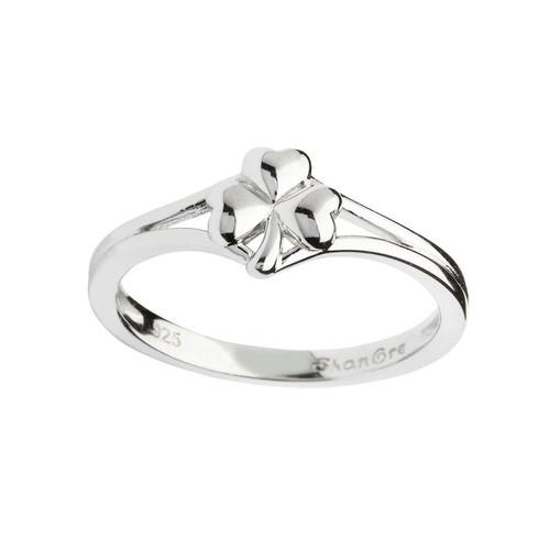 Women's Sterling Silver Dainty Shamrock Ring