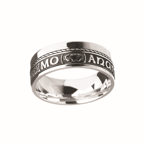 Unisex Oxidized Sterling Silver Mo Anam Cara Claddagh Band Ring