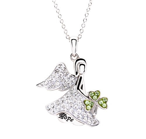 Hope Angel Shamrock Pendant