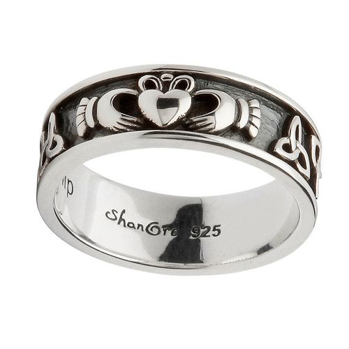 Unisex Sterling Silver Oxidized Claddagh Band with Trinity Knots