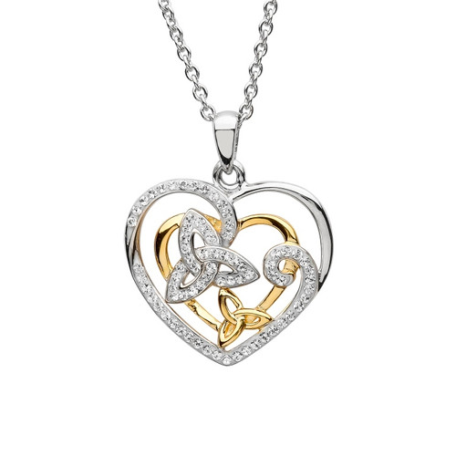 Trinity Sterling Silver Twin Heart Pendant Necklace