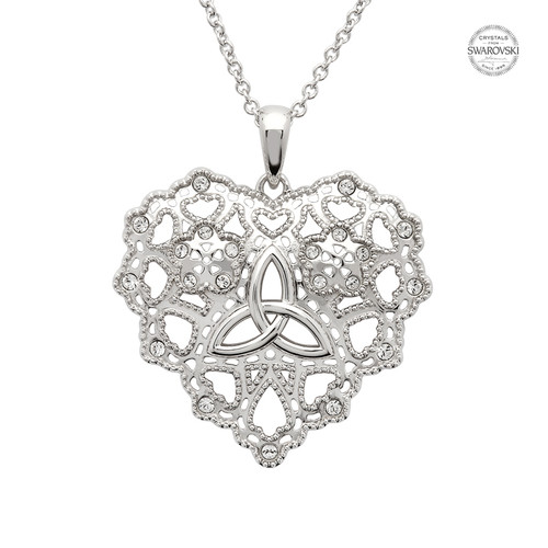 Irish Lace Silver Heart Trinity Knot Pendant Necklace
