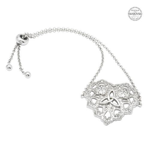 Irish Lace Silver Heart Trinity Knot Bracelet