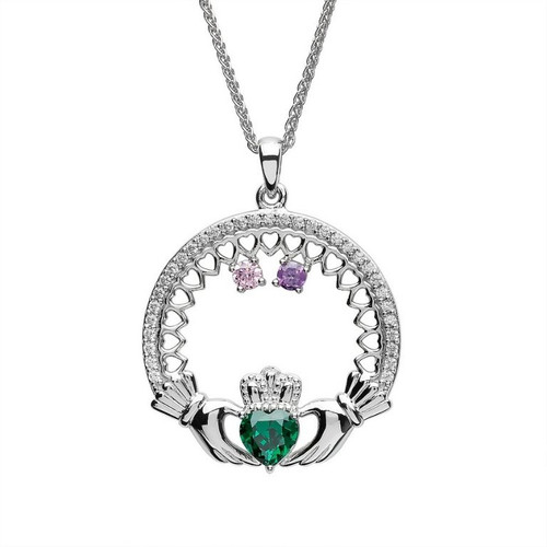 Family Birthstone Claddagh Pendant