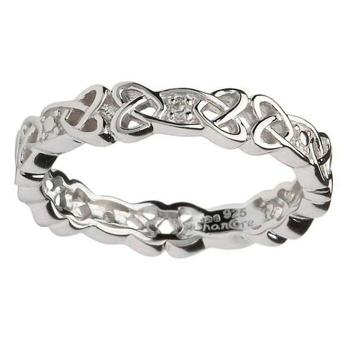Women's Sterling Silver Celtic Knot Band with Diamonds