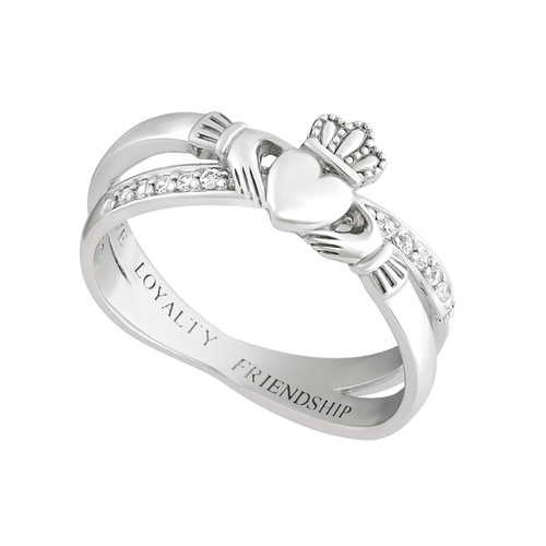 Silver Claddagh Kiss Ring