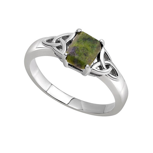 Connemara Marble Sterling Silver Trinity Knot Ring