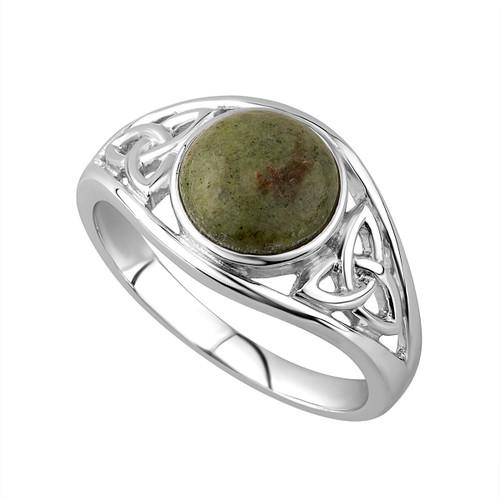Connemara Marble Celtic Trinity Knot Ring