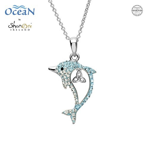 Aqua Trinity Dolphin Necklace with Swarovski® Crystals