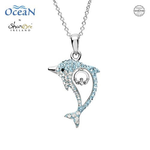 Aqua Claddagh Dolphin Necklace with Swarovski® Crystals