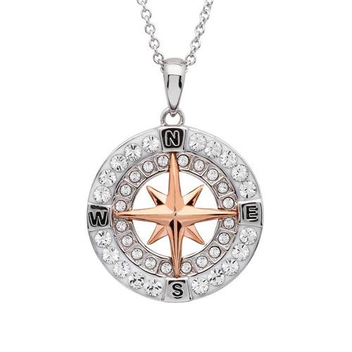 Rose Gold Compass Necklace with Aqua Swarovski® Crystals