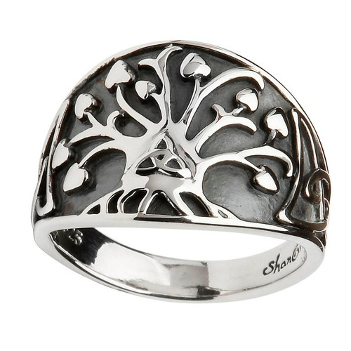 Women's Sterling Silver Oxidized Tree of Life Ring