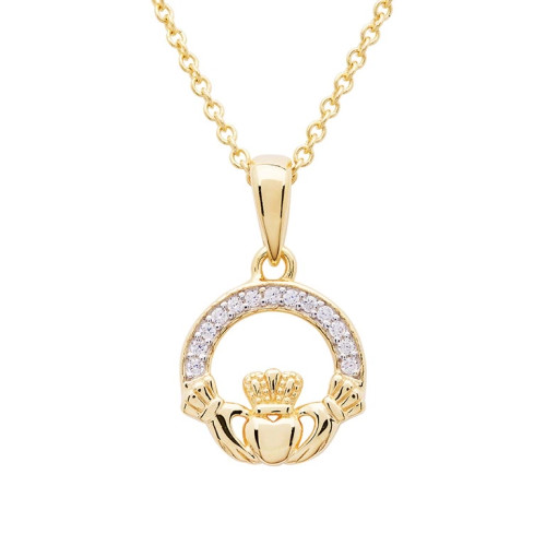 Gold Vermeil Claddagh Necklace Studded with White Cubic Zirconia