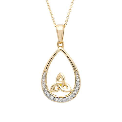 Gold Vermeil Tear Drop Trinity Knot Pendant Studded With Cubic Zirconias