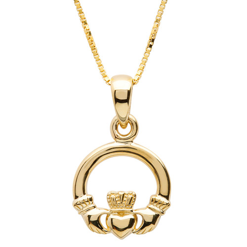 The Irish Claddagh features two hands, holding a delicate crowned heart. The hands represent friendship, the heart speaks of love, and the crown symbolizes loyalty.