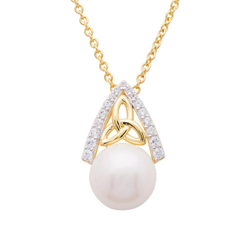 Gold Vermeil Trinity Knot Pearl Pendant Studded with White Cubic Zirconias