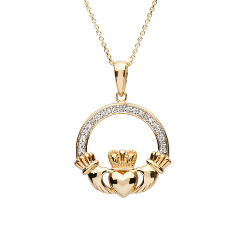 Gold Vermeil Large Claddagh Necklace Studded with White Cubic Zirconias