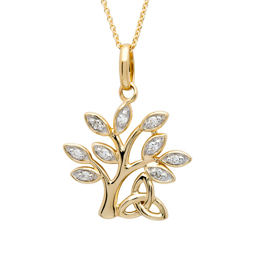 Gold Vermeil Tree of Life Necklace Adorned with White Cubic Zirconias
