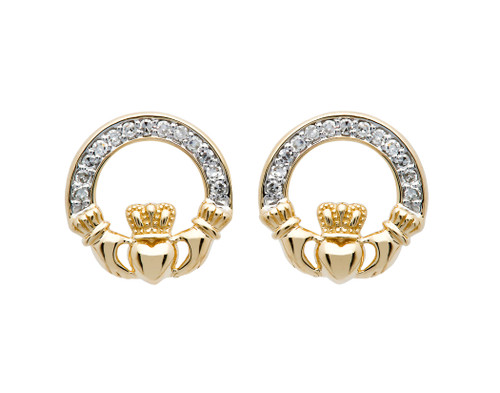 Gold Vermeil Stud Claddagh Earrings Adorened with White Cubic Zirconias