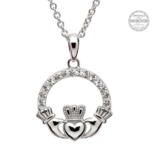 Sterling Silver Claddagh Pendant Embellished with Swarovski® White Crystals