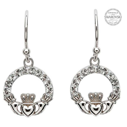 Sterling Silver Claddagh Drop Earrings Embellished with Swarovski® White Crystals