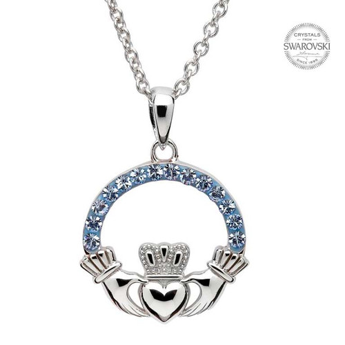 Sterling Silver Claddagh Pendant Embellished with Swarovski® Light Sapphire Crystals