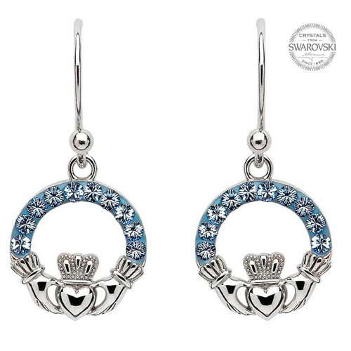 Sterling Silver Claddagh Drop Earrings Embellished with Swarovski® Light Sapphire Crystals