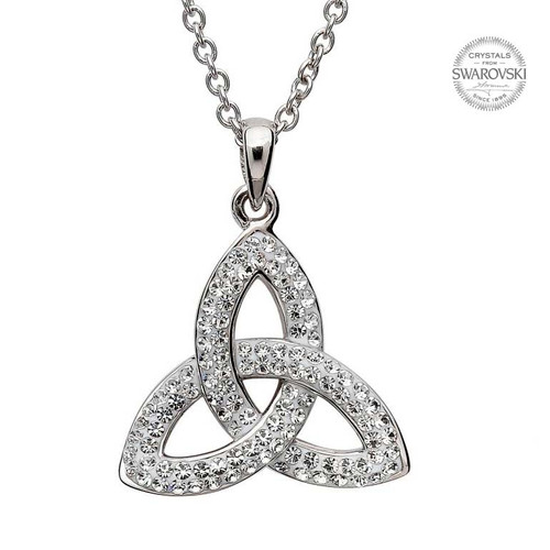 Sterling Silver 3D Celtic Trinity Knot Pendant Embellished with Swarovski® White Crystals
