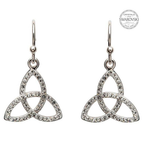 Sterling Silver 3D Celtic Trinity Knot Drop Earrings Embellished with Swarovski® White Crystals