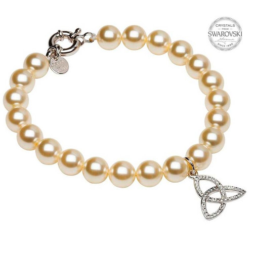 Sterling Silver Celtic Trinity Knot Pearl Bracelet Embellished with Swarovski® White Crystals
