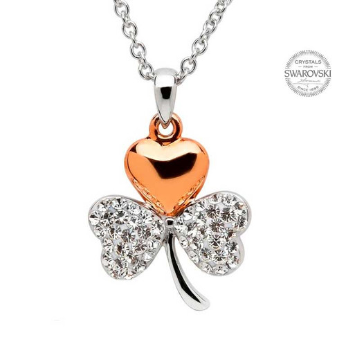 Rose Gold Plated Sterling Silver Shamrock Pendant Embellished with Swarovski® White Crystals