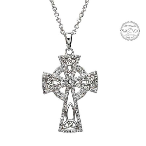 Sterling Silver Trinity Knot Celtic Cross Pendant Embellished with Swarovski® White Crystals