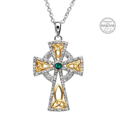 Sterling Silver Yellow Gold Plated Trinity Knot Celtic Cross Pendant Embellished with Swarovski® White Crystals