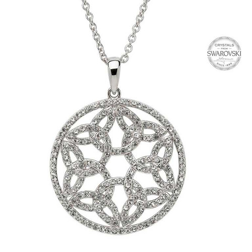 Sterling Silver Celtic Trinity Knot Circle Pendant Embellished with Swarovski® White Crystals
