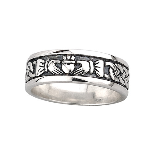 Men's Sterling Silver Oxidized Claddagh Ring