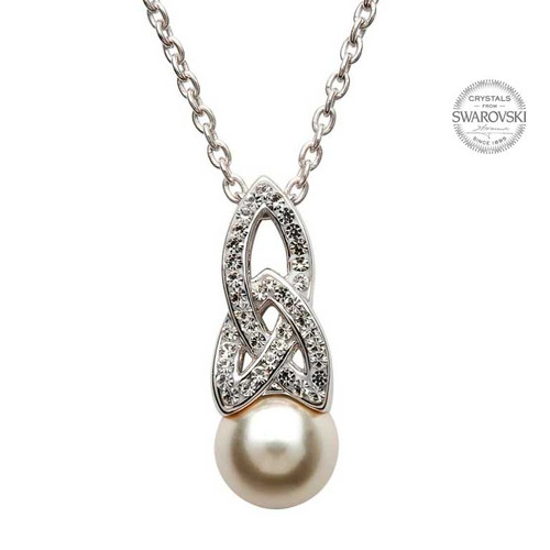 Sterling Silver Celtic Trinity Knot Pearl Pendant Embellished with Swarovski® White Crystals