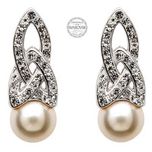 Sterling Silver Celtic Trinity Knot Pearl Earrings Embellished with Swarovski® White Crystals
