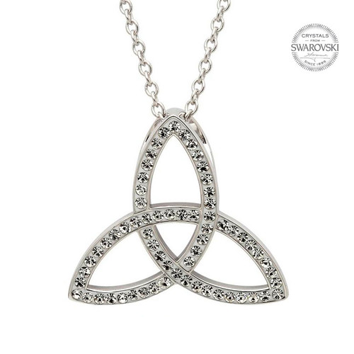 Sterling Silver Medium Celtic Trinity Knot Pendant Embellished with Swarovski® White Crystals