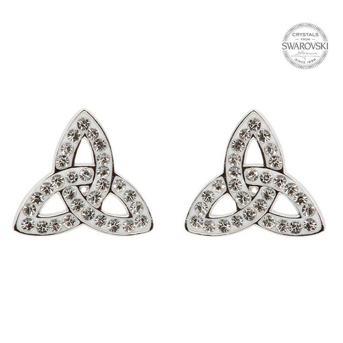 Sterling Silver Celtic Trinity Knot Stud Earrings Embellished with Swarovski® White Crystals