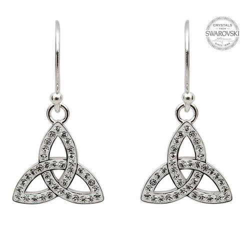 Sterling Silver Celtic Trinity Knot Drop Earrings Embellished with Swarovski® White Crystals