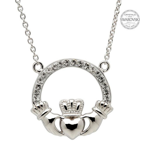 Sterling Silver Claddagh Pendant (Double Ring) Embellished with Swarovski® White Crystals