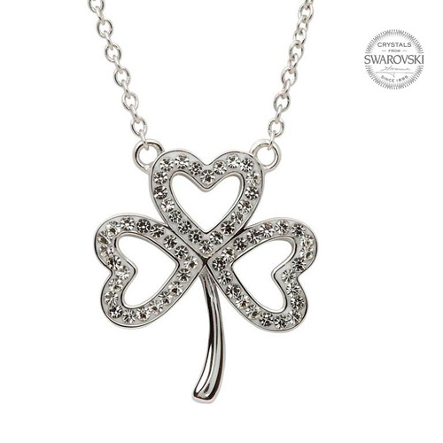 Sterling Silver Open Shamrock Pendant Embellished with Swarovski® White Crystals