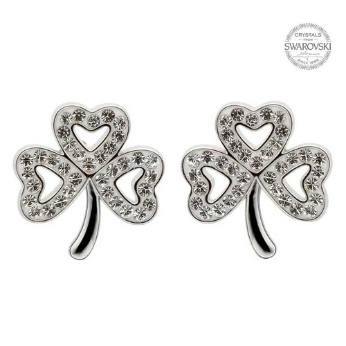 Sterling Silver Open Shamrock Stud Earrings Embellished with Swarovski® White Crystals