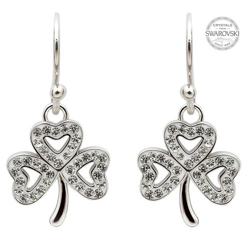 Sterling Silver Open Shamrock Drop Earrings Embellished with Swarovski® White Crystals