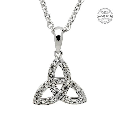 Sterling Silver Small Celtic Trinity Knot Pendant Embellished with Swarovski® White Crystals